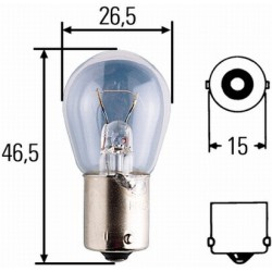 10 x Hella Light bulb - BA15s - 12V - 18W - R